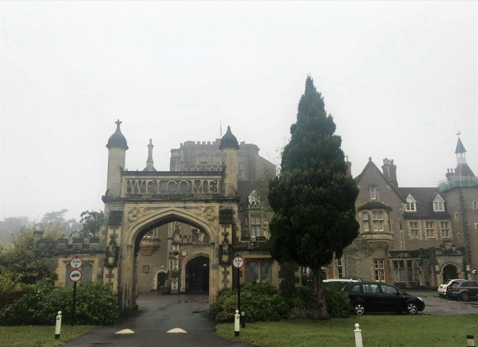 outside of the De Vere hotel with its arch