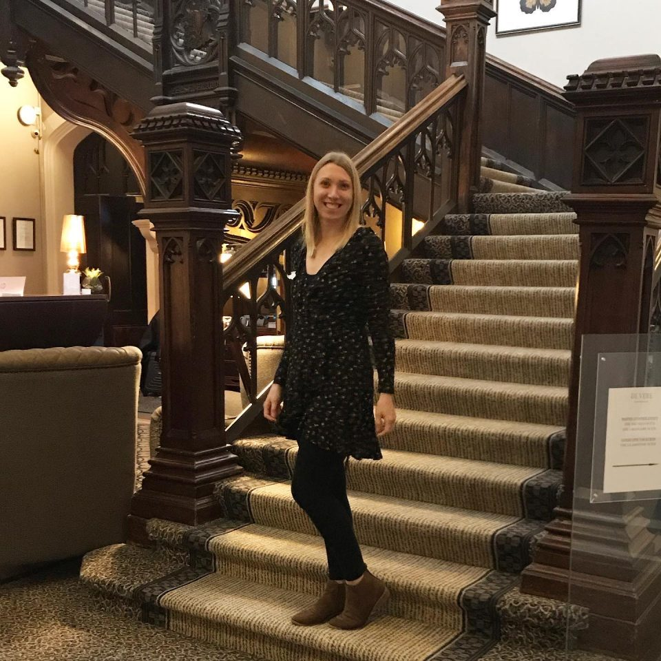 me stood on the stair way of the de vere hotel