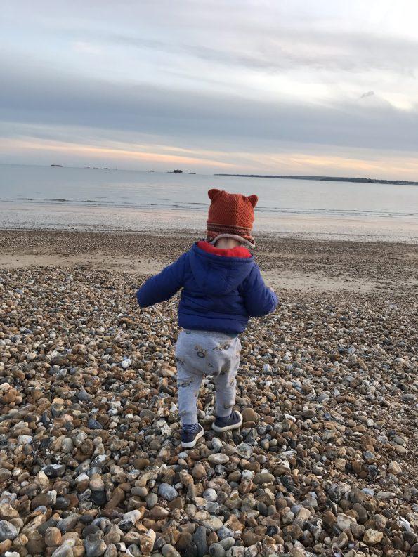 William walking down the beach