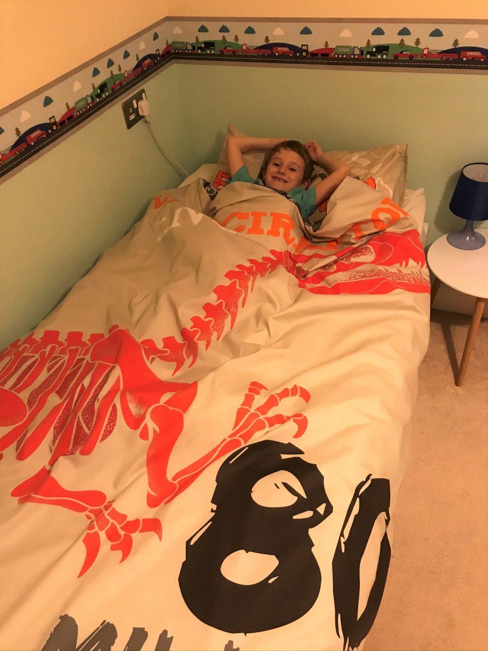 Jake in the raptor dino bed