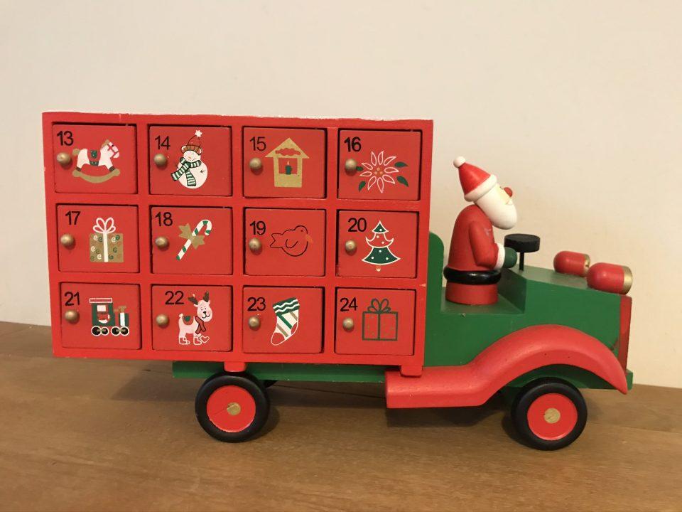 wooden advent santa truck