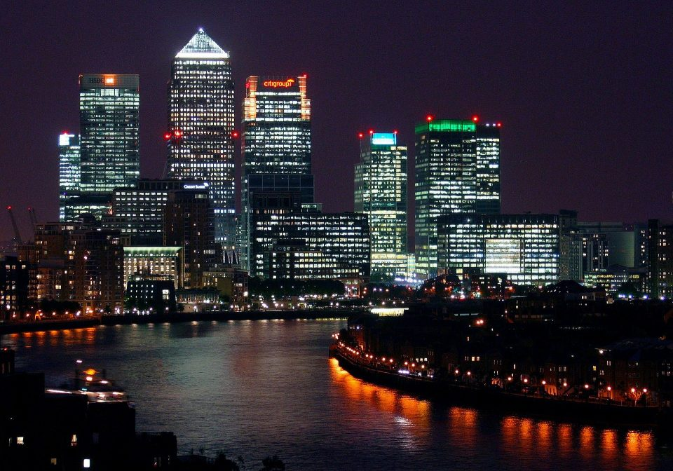 Canary Wharf at night perfect for New Year's Eve