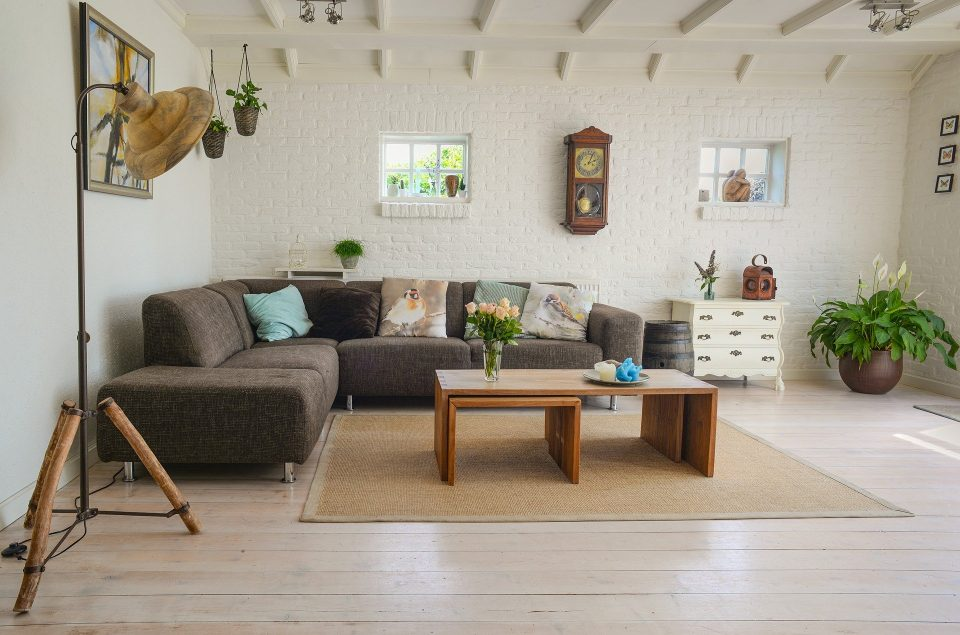 living room with a lovely wooden floor