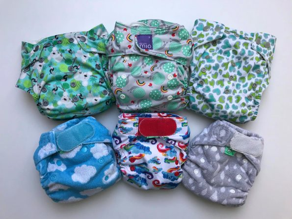 a variety of cloth nappies
