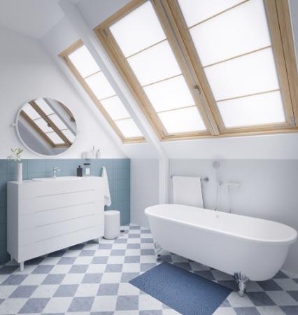 bathroom with a skylight above the bath