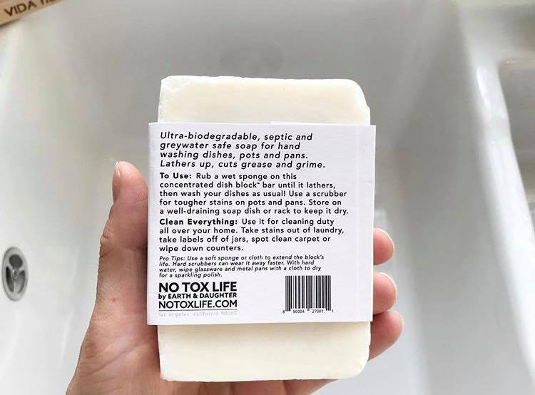 the ingredient list on the back of the dish washing block