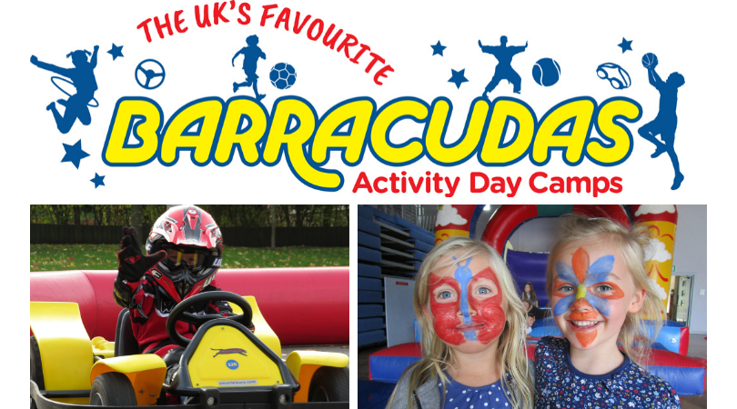 Barracudas Activity Day Camp logo with photo of boy on a go kart and 2 girls with their faces painted below