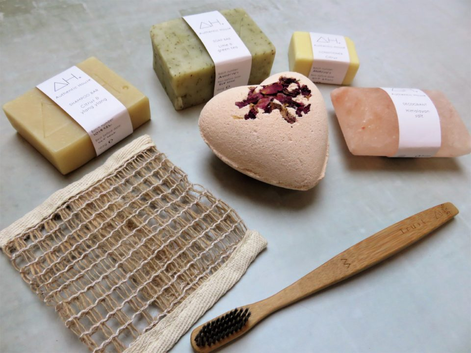 the products from the box of love laid out