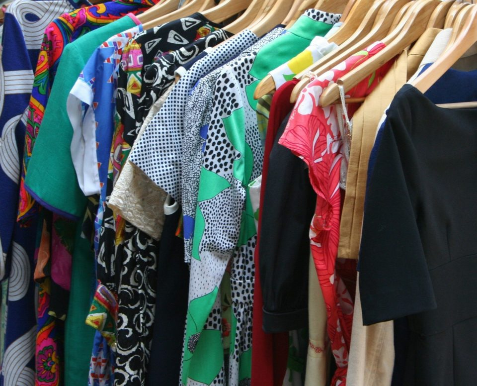 selecttion of clothing on a rail