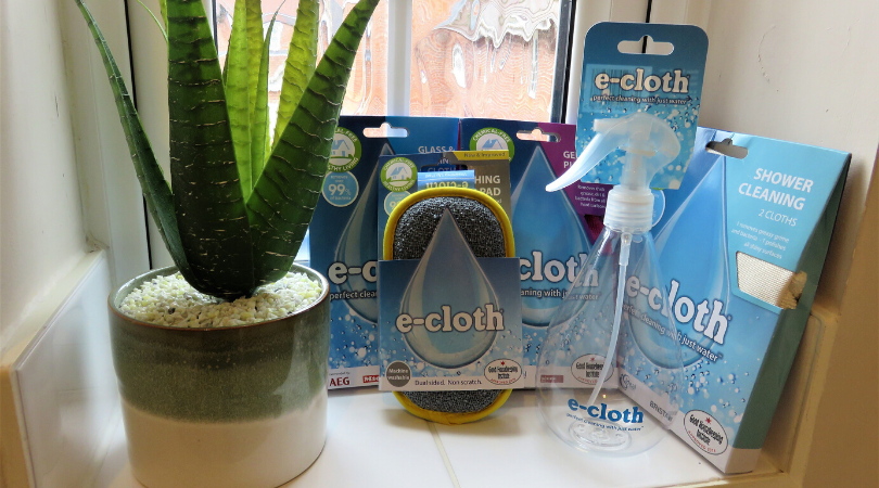 the e cloth range on the bathroom window sill next to a plant