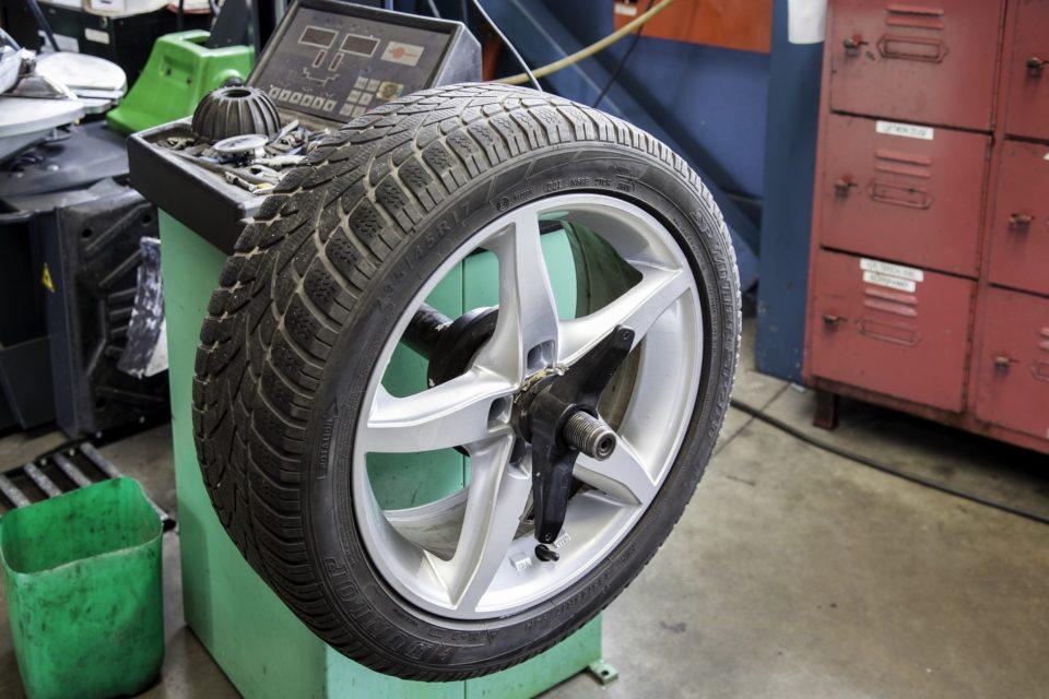 tyre in a garage