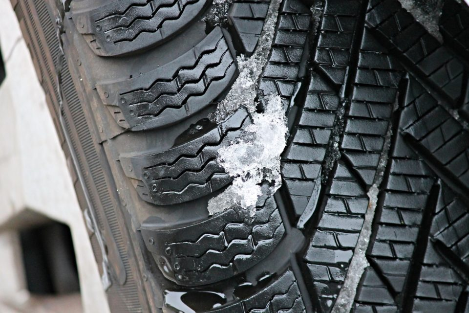 winter tyre with snow in the tread