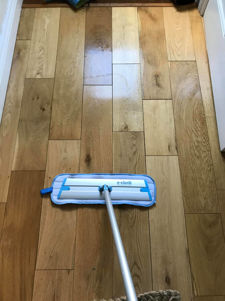 cleaning the wooden floor