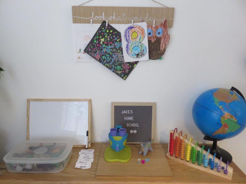 top of the homeschooling area