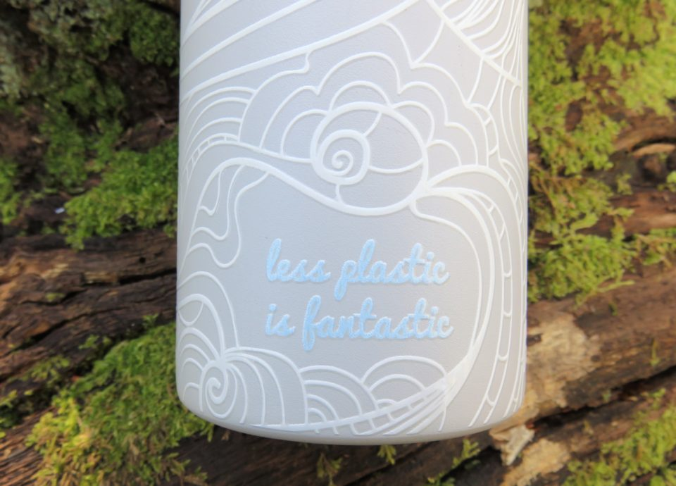 water bottle words which read less plastic is fantastic