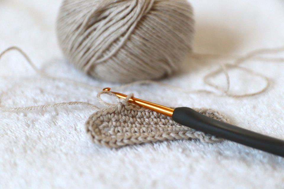 crochet needle and yarn