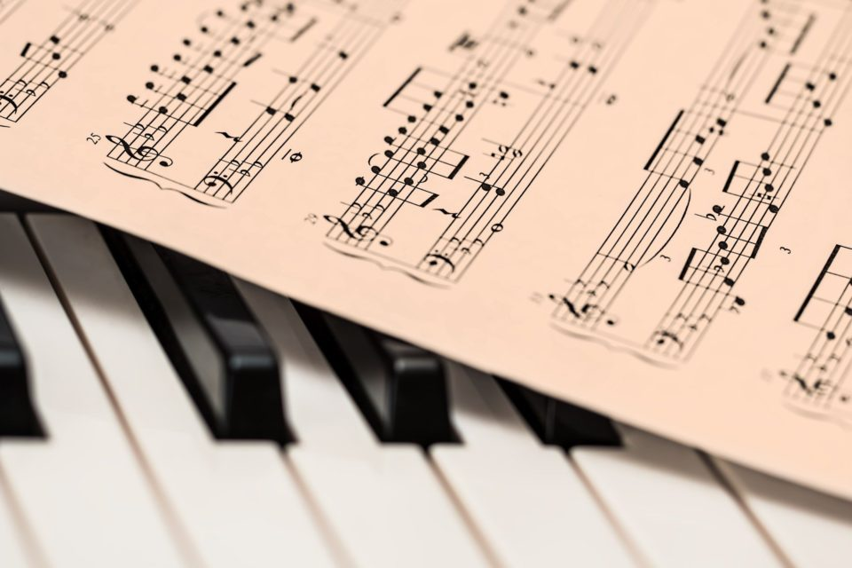 a piano with sheet music on the top