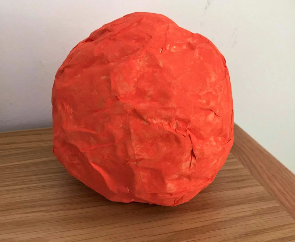 out finished paper mache planet which was Mars