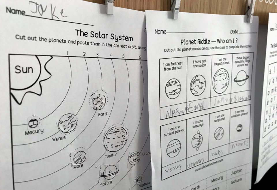 printable space themed worksheets
