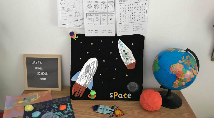 our space themed home learning area