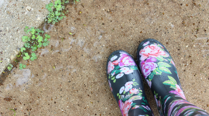 a pair of welly boots on a path with weeds