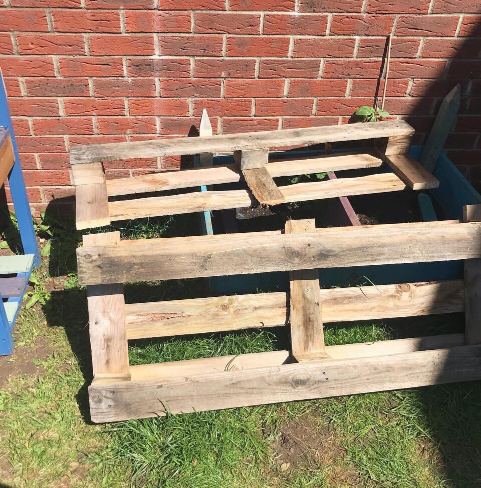 pallet after the top row has been sawn off