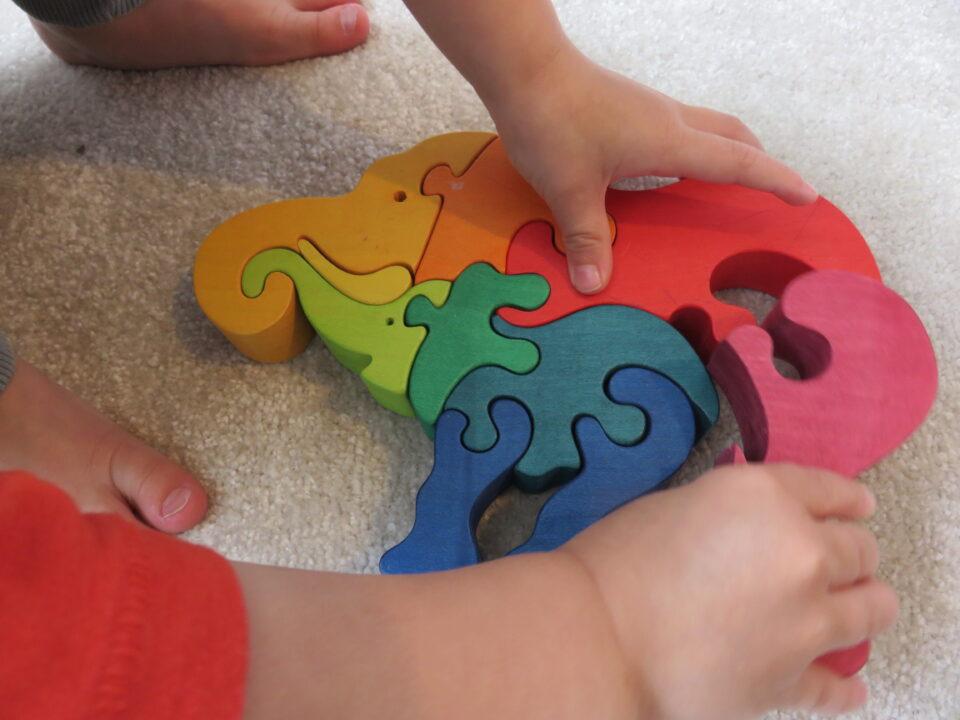 William doing the elephant puzzle