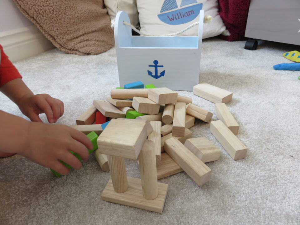 wooden blocks being played with
