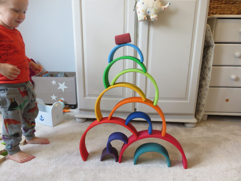 william stood admiring the Grimms rainbow stacked up