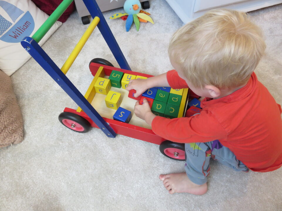 William playin with his push along and bricks