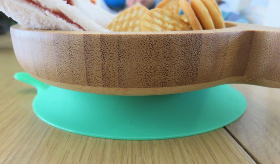 the green suction base on the snail bamboo plate