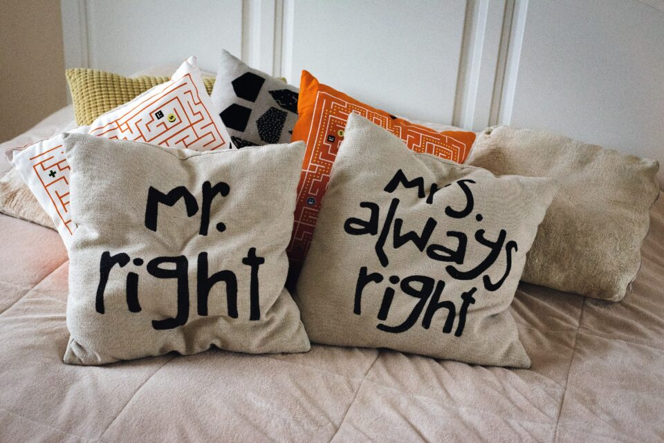 Mr right and a Mrs always right cushions
