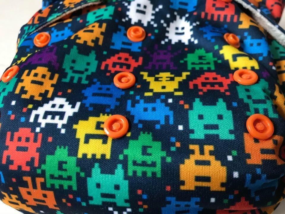 pac-man inspired cloth nappy print