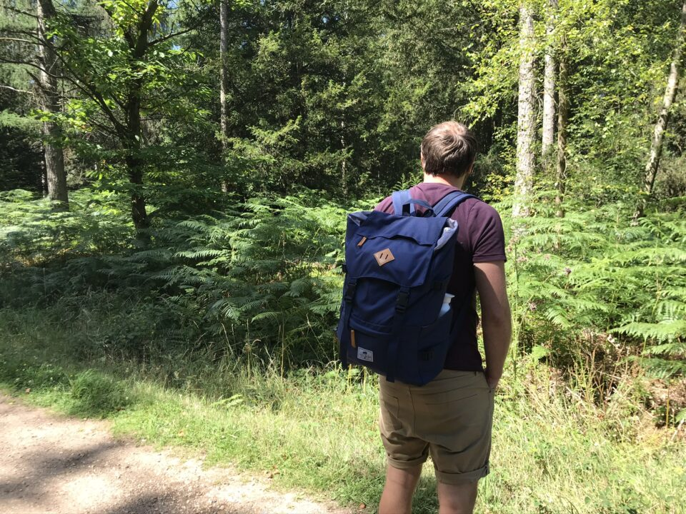 man wearing the backpack in the woods