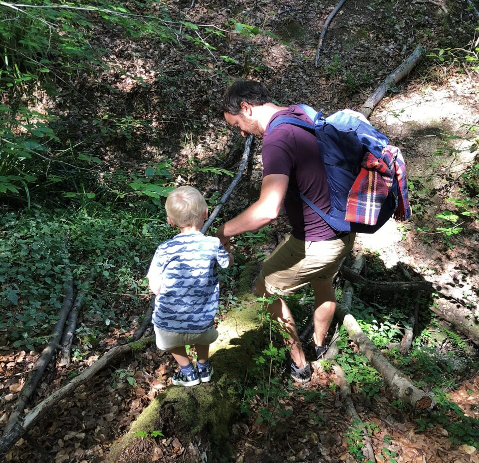 Dad helping toddler across the logs