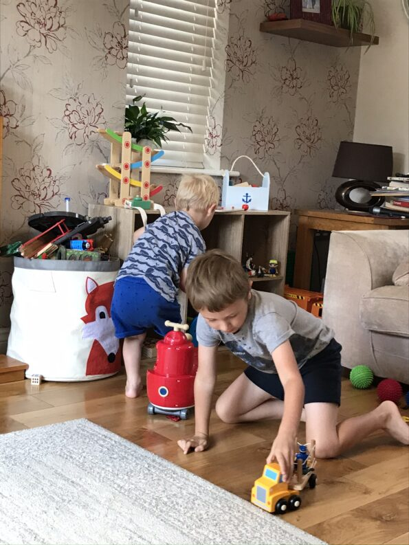 the boys playing in the front room