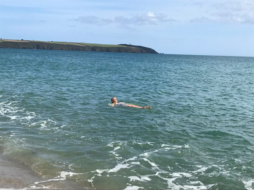 me on my back in the sea