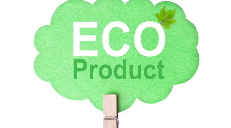 eco product written in a green bubble held up by a wooden peg