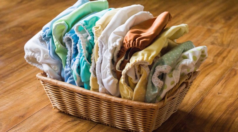 cloth nappies in a basket