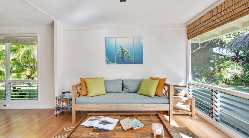 a home with a grey sofa and turtle photo on the wall