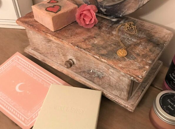 the necklace and box on my dressing table