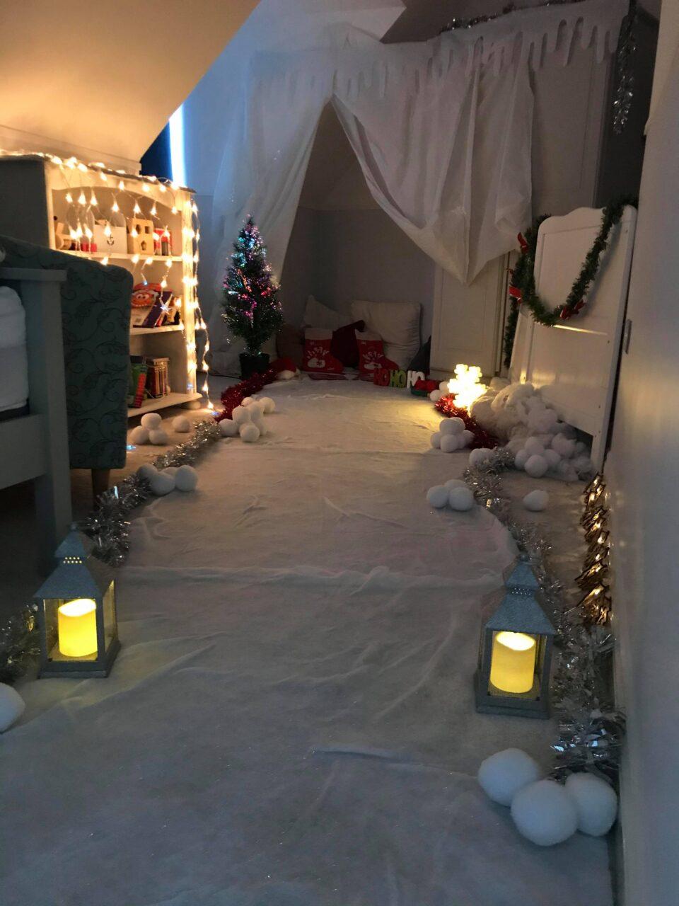 the bedroom transformed into a winter wonderland