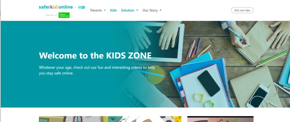 a screenshot of the Safer Kids Online website