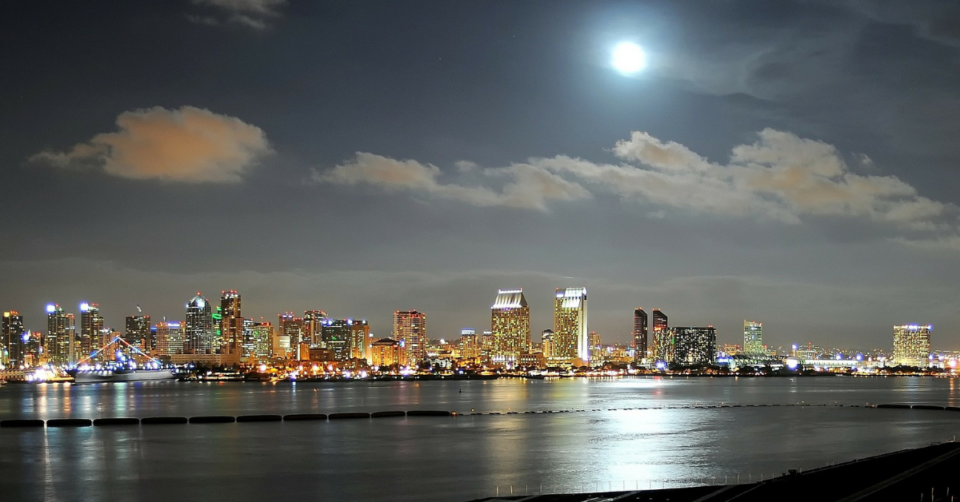 San Diego at night all lit up