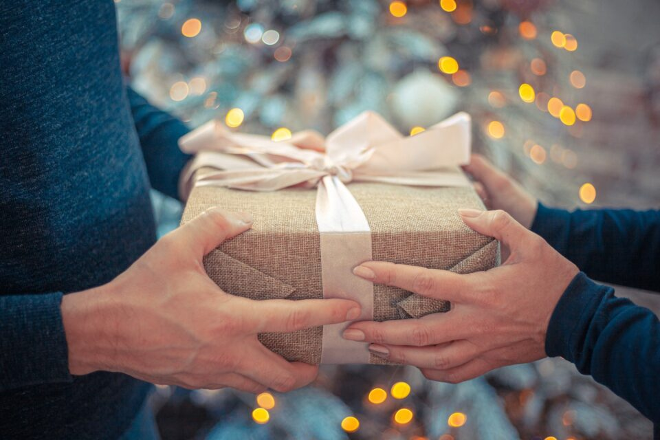 a gift being given