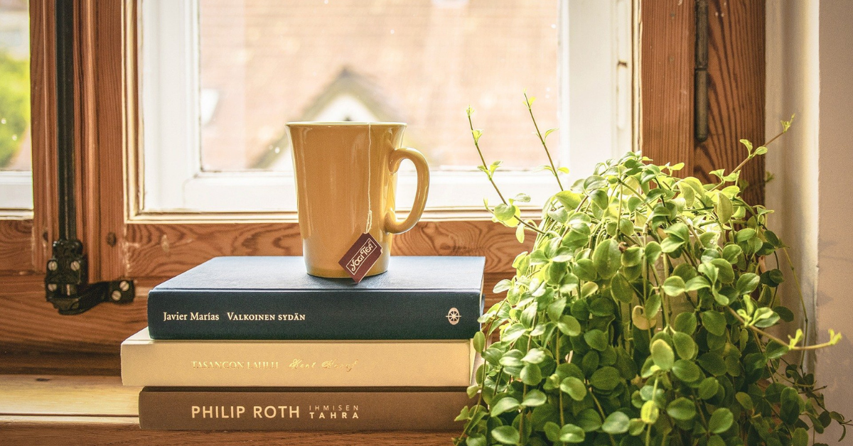 a mug on top of 3 books on a window sill