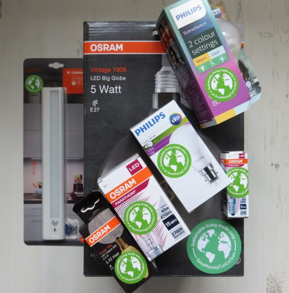 a selection of LED bulbs from save money cut carbon