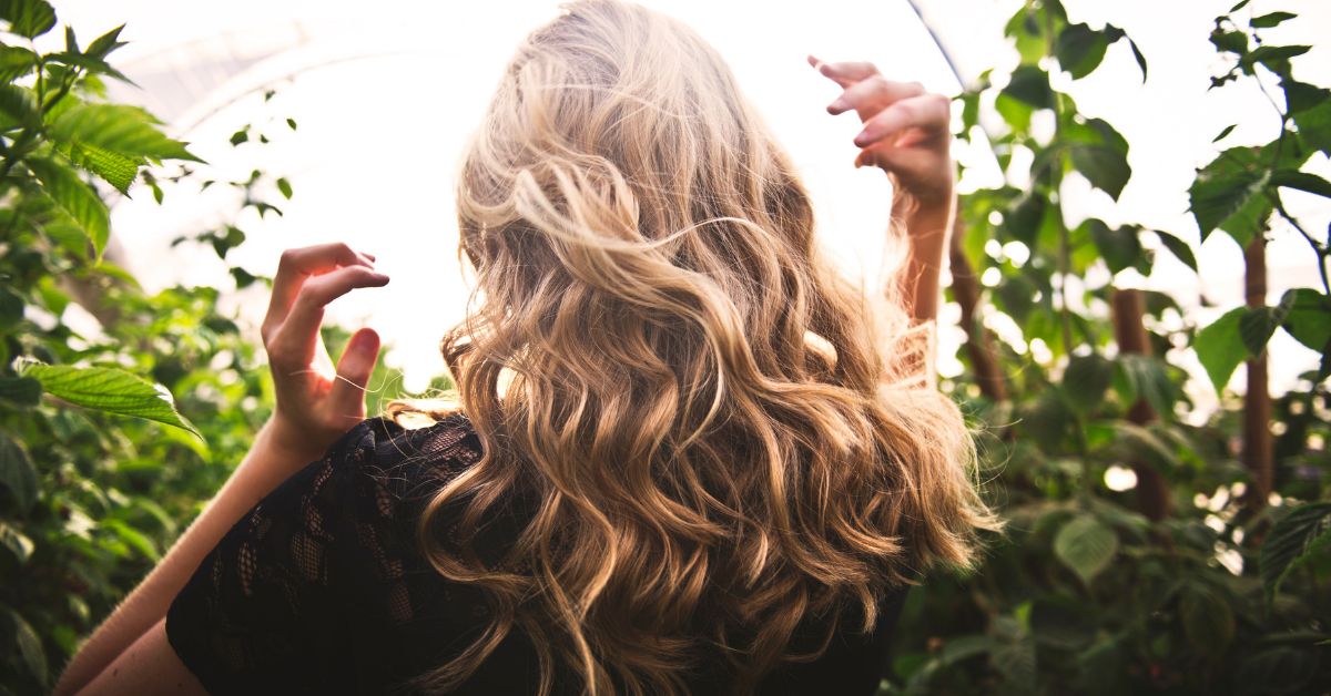blonde wavy hair being shown