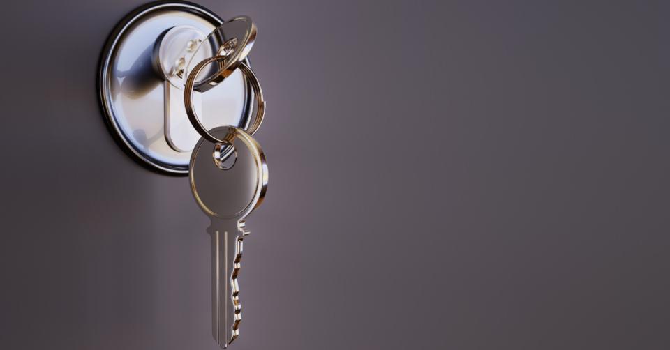 home security keys in a door