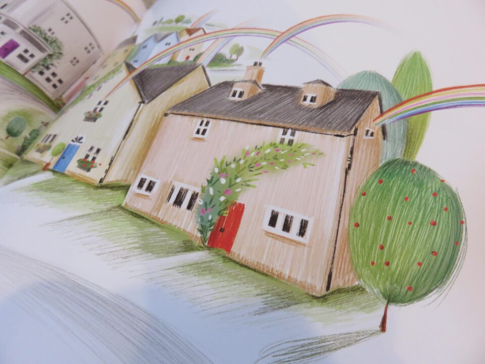 rainbows going over the houses in the book